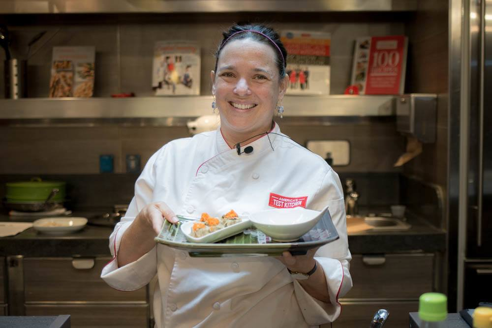 Eva Mulligan teaches Americas Test Kitchen on the Holland America Cruise