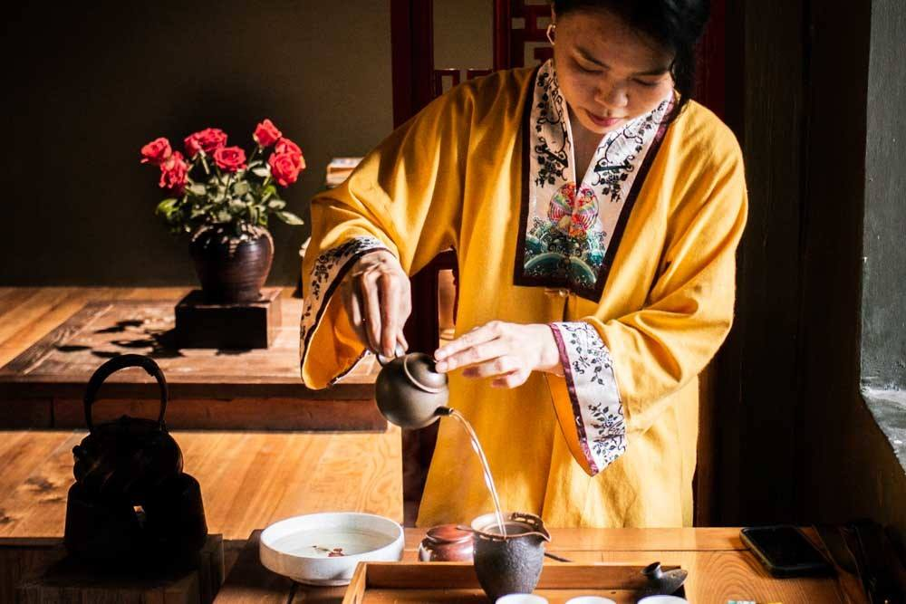 Tea Ceremony at Thuong Tra Quan in Hanoi Vietnam