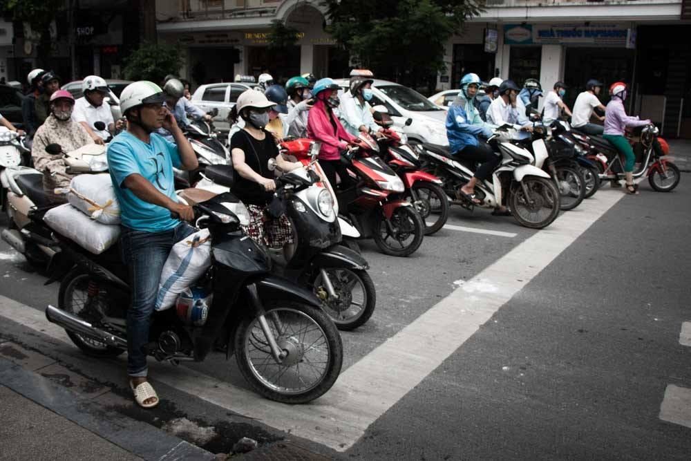 Rush Hour Traffic in Hanoi Vietnam