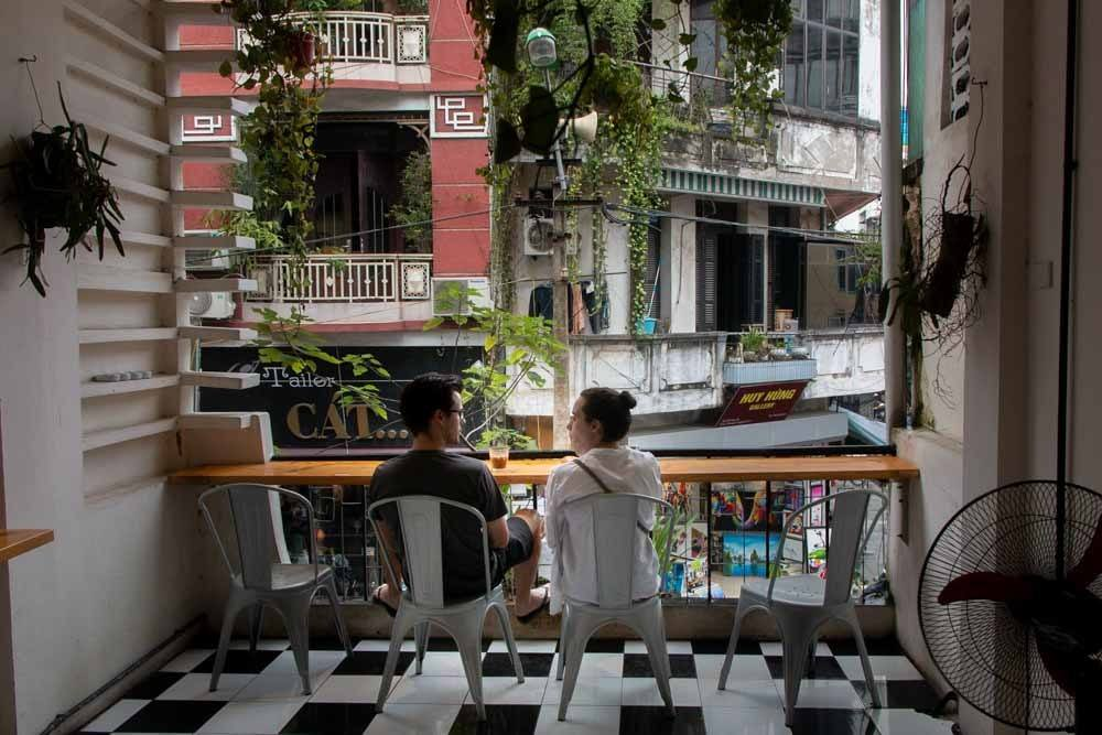 Balcony at Gau Coffee Roaster in Hanoi Vietnam