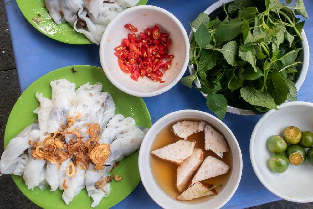 Banh Cuon on Blue Table in Hanoi Vietnam