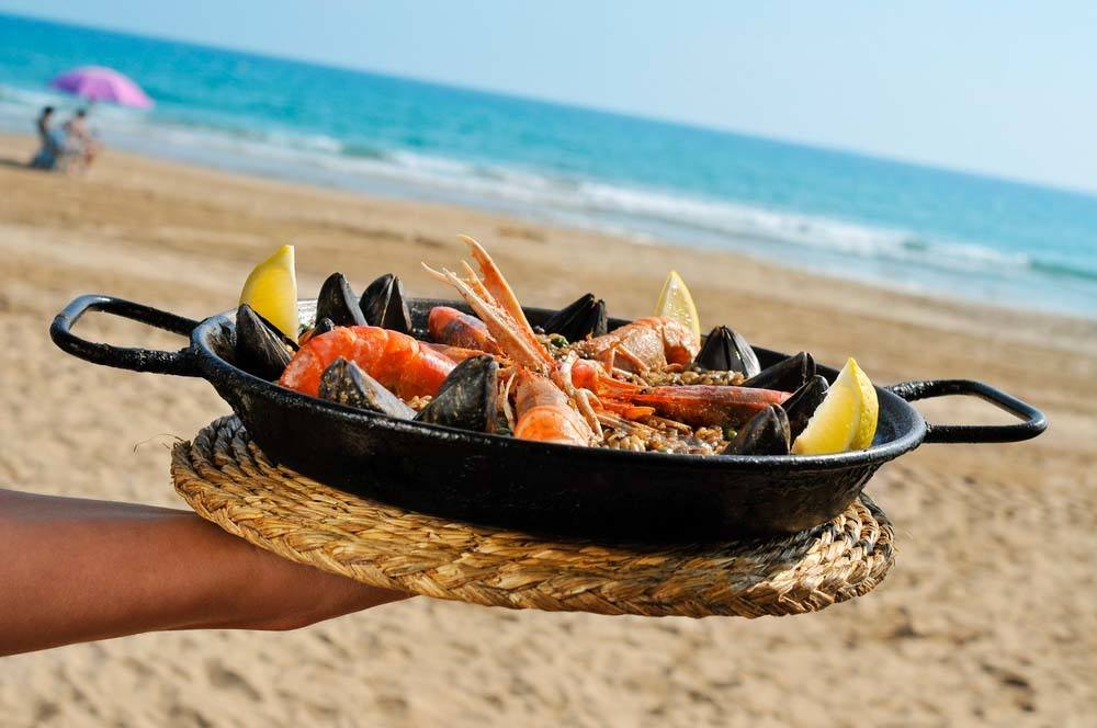 Paella on Beach in Valencia Spain