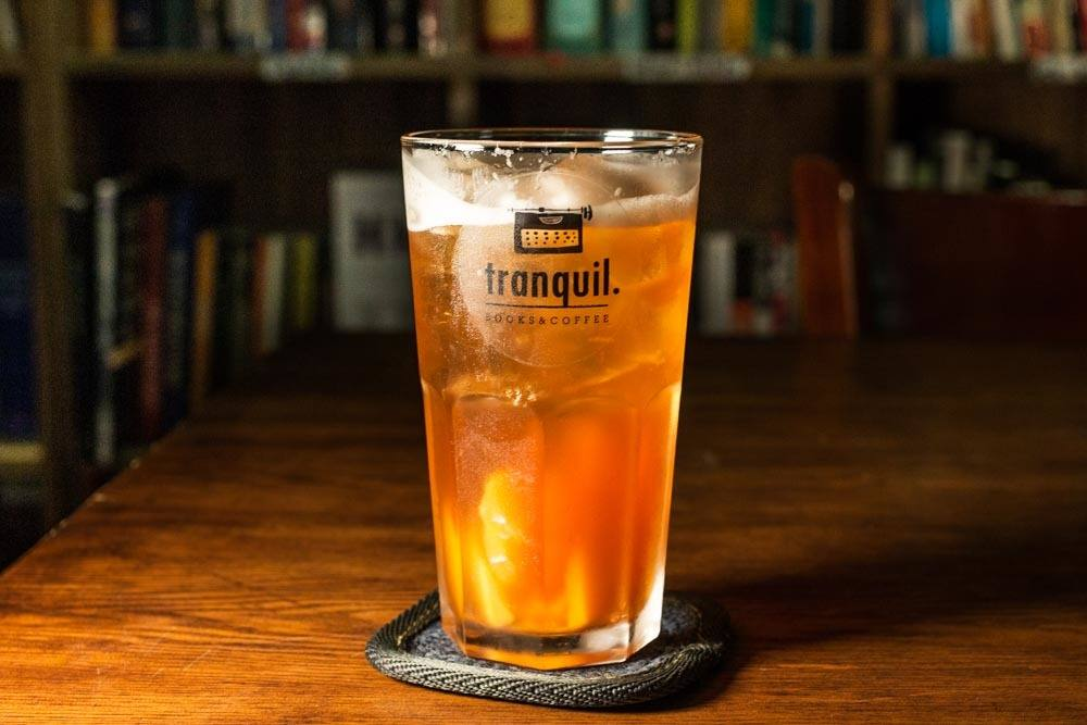 Peach Tea at Tranquil Coffee and Books in Hanoi Vietnam