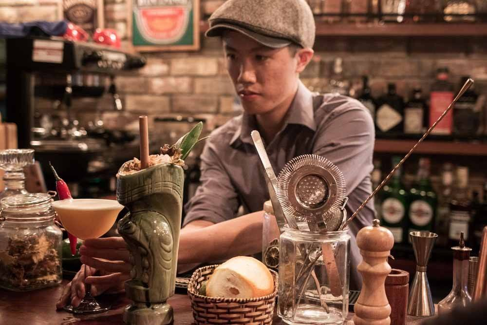Bartender at Wanderlust Cafe in Da Nang Vietnam