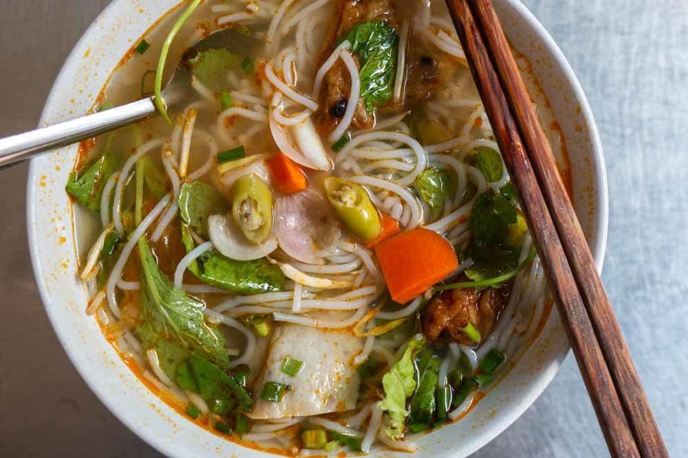 Bowl of Bun Cha Ca at Bun Cha Ca Hon in Da Nang Vietnam