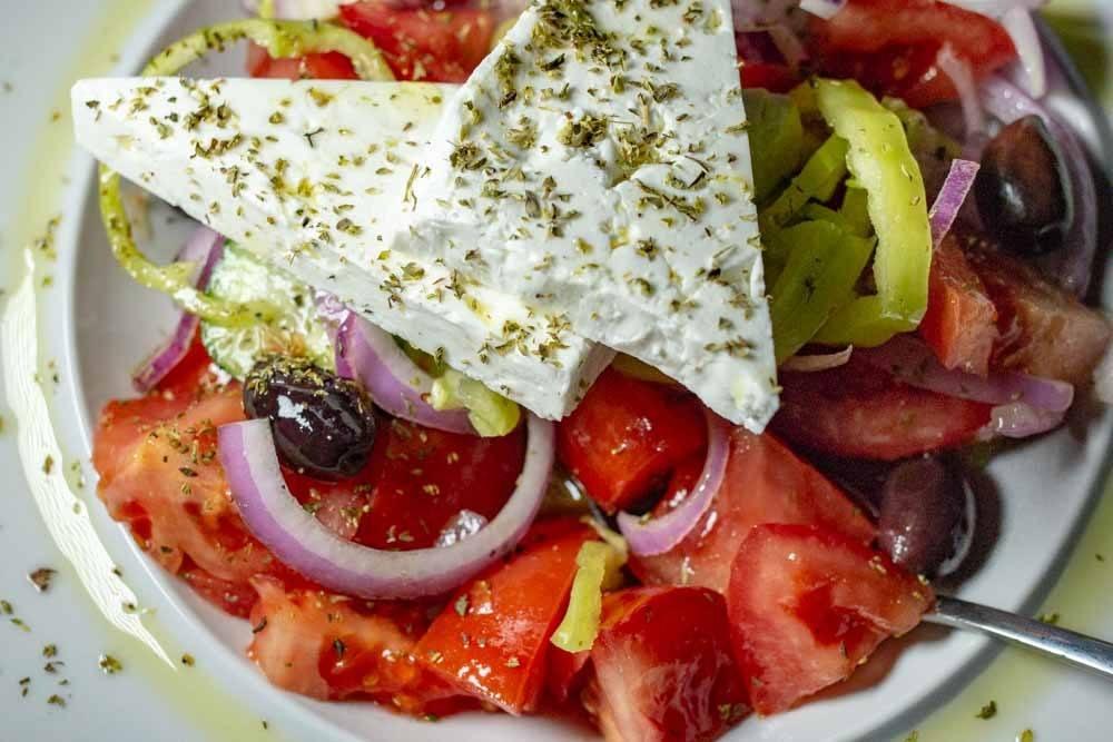 Greek Salad at Valia Calda in Meteora Greece