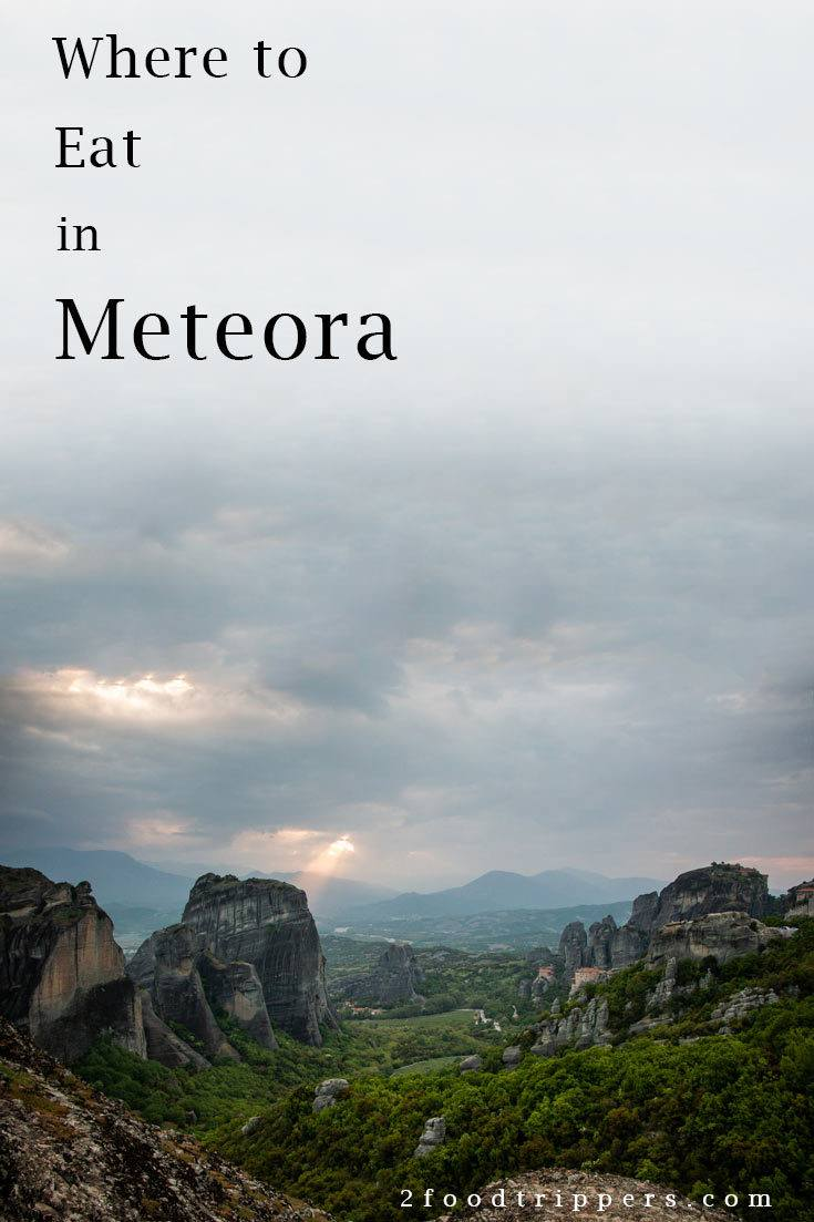 Pinterest image: image of Meteora with caption reading 'Where to Eat in Meteora'