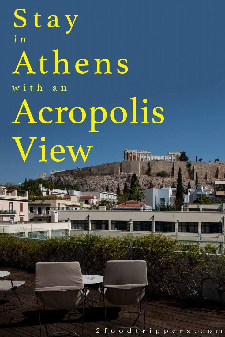 Pinterest image: image of Athens with caption reading 'Stay in Athens with an Acropolis View'