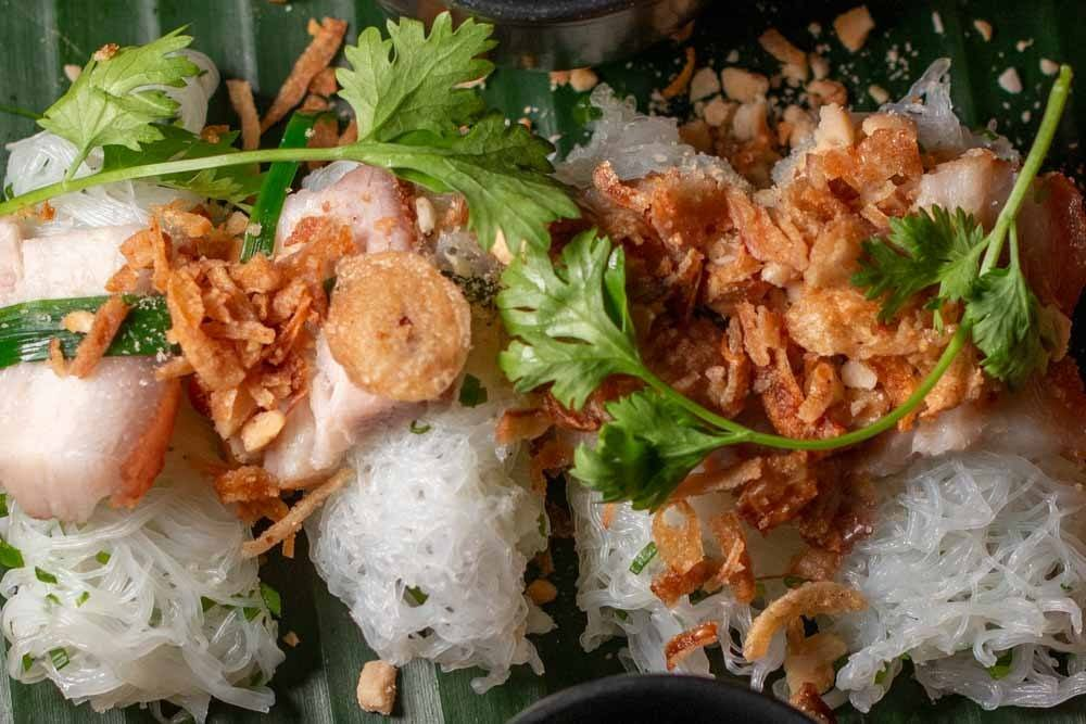 Roasted Pork in Lace Rice Sheets at Nen in Da Nang Vietnam
