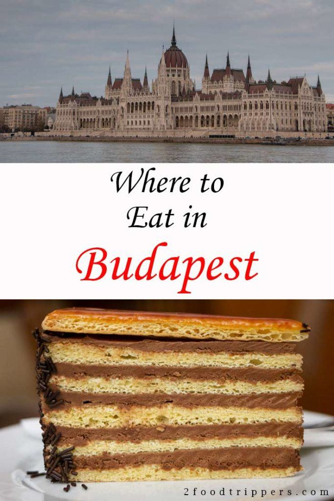 Pinterest image: two images of Budapest with caption reading 'Where to Eat in Budapest'