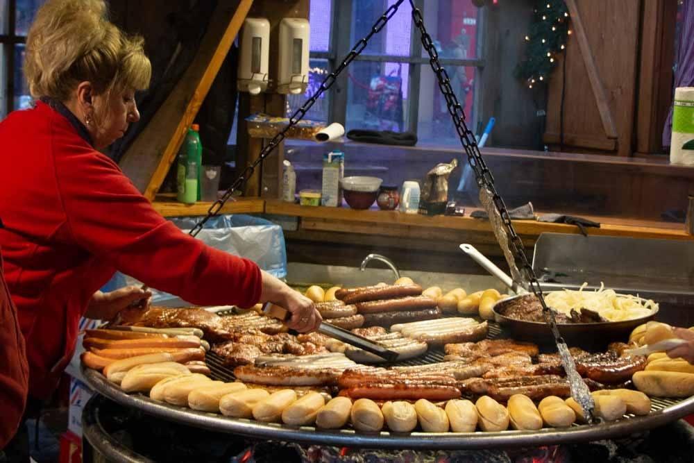 Cooking Bratwurst at Hamburg Christmas Markets