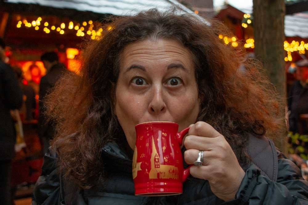 Drinking Gluhwein at Hamburg Christmas Markets