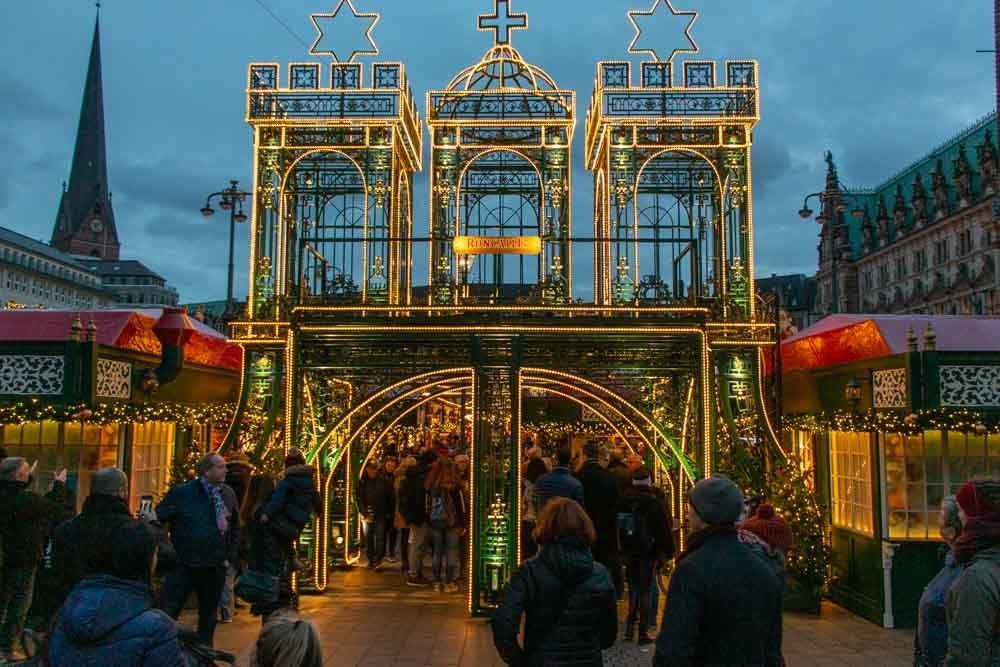 Entrance to Rathouse Christmas Market in Hamburg