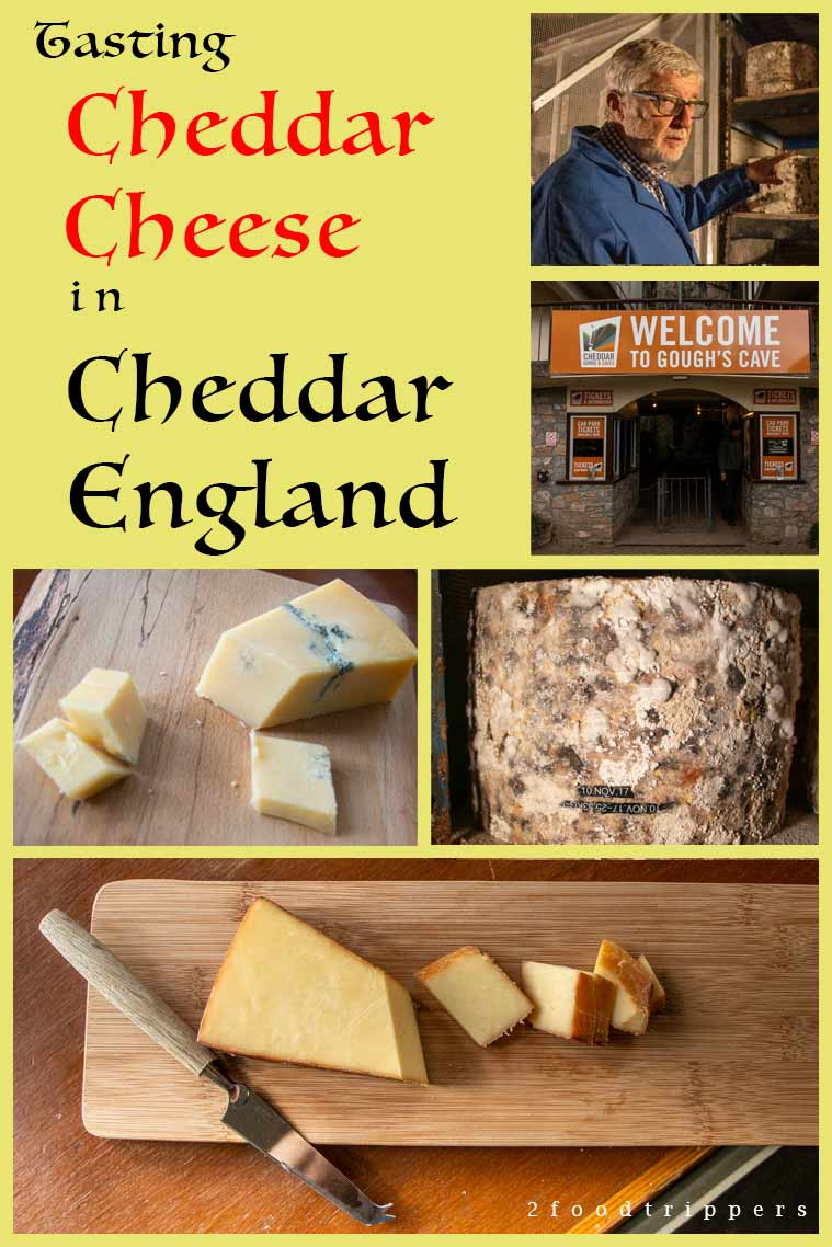 Pinterest image: 5 images of cheddar with caption 'Eating Cheddar Cheese in Cheddar England'