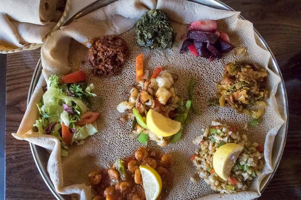 Ethiopian Food - Mixed Platter on Injera