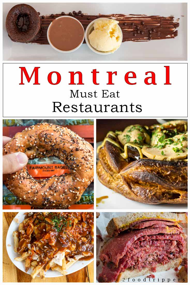Pinterest image: five images of Montreal food with caption reading 'Montreal Must Eat Restaurants'