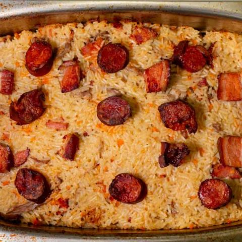 Arroz de Pato out of Oven at Lisbon Cooking Academy