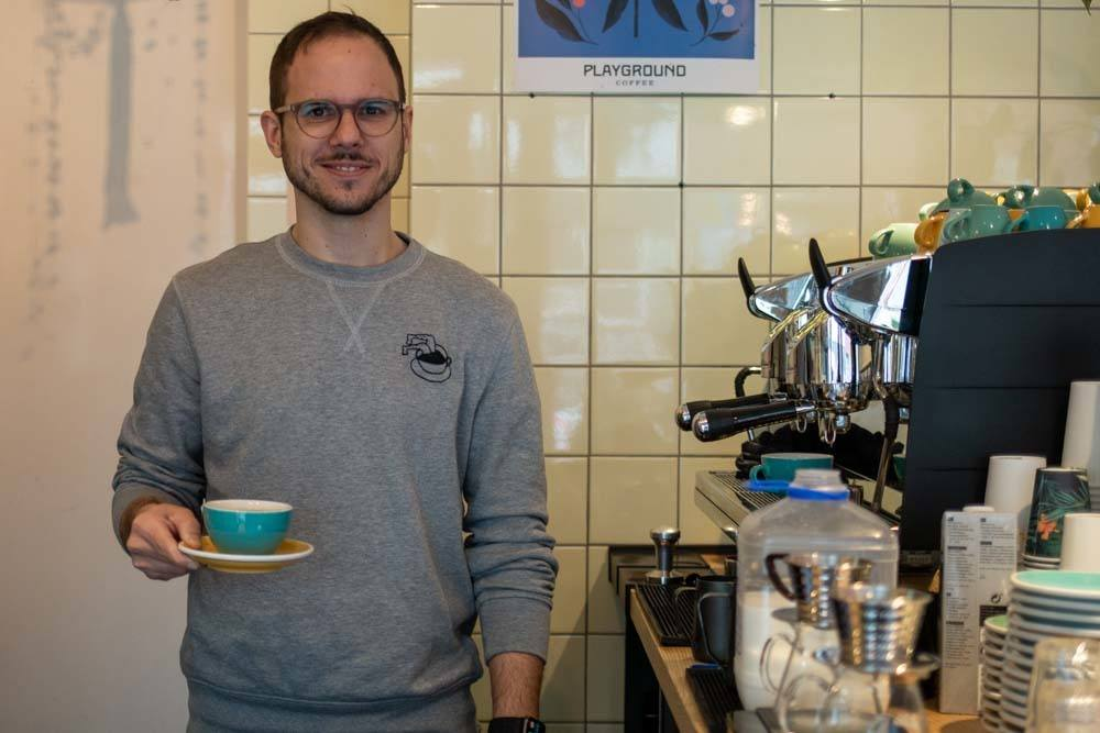 Barista at Playground Coffee in Hamburg