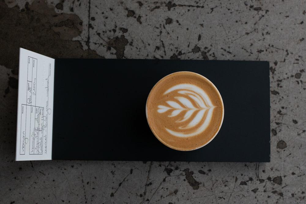 Flat White and Sign at tornqvist in Hamburg Germany