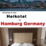 Pinterest image: two images of Hamburg with caption 'Staying at the Heikotel in Hamburg Germany'