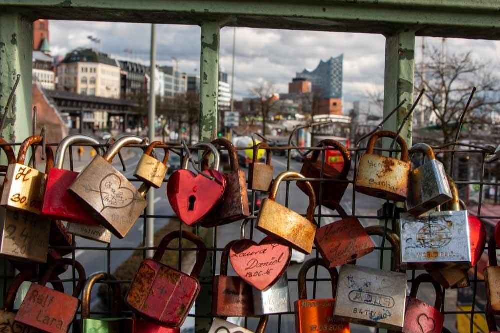 Locks on Bridge in Hamburg Germany