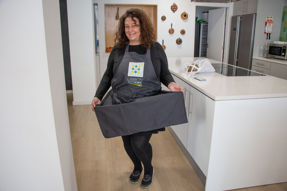 Mindi in Apron at Lisbon Cooking Academy