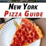 Pinterest image: two images of New York with caption reading 'New York Pizza Guide'