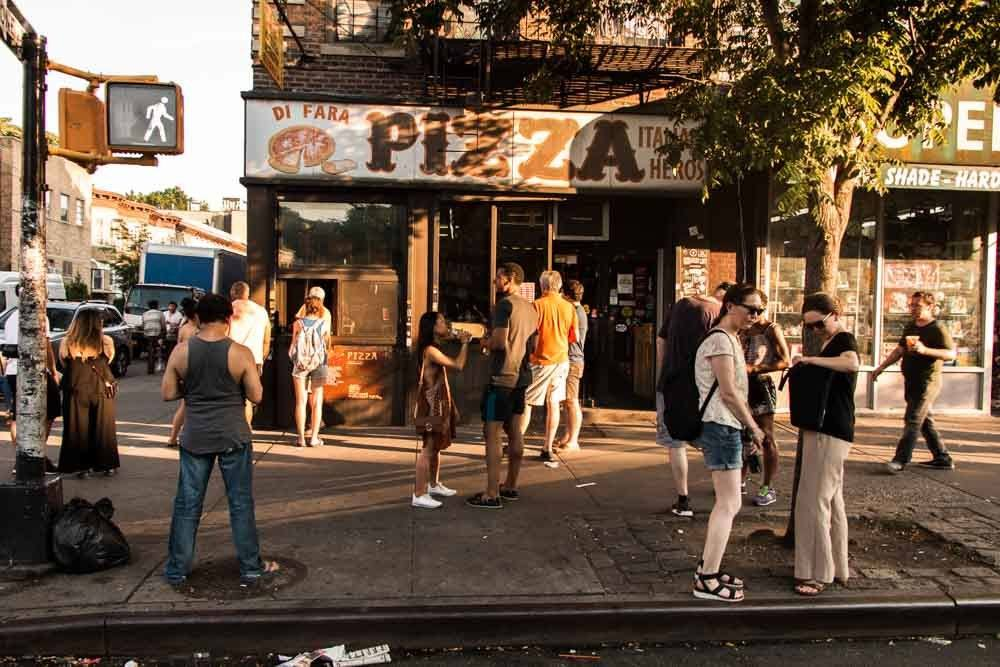 Outside Di Fara Pizza in Brooklyn