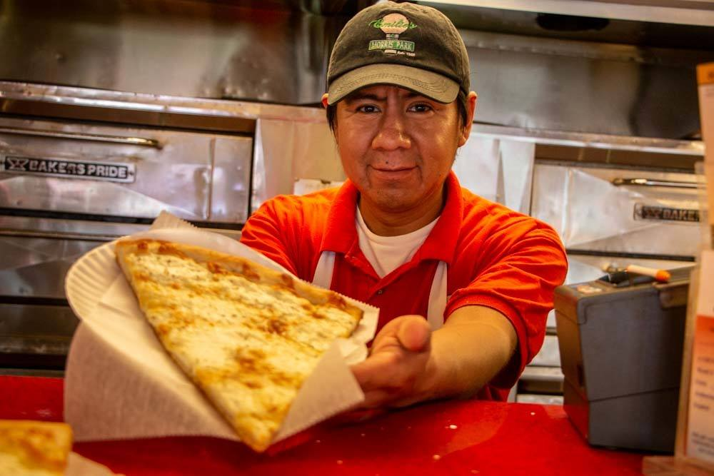 Pizza Dude at Emilios of Morris Park in the Bronx