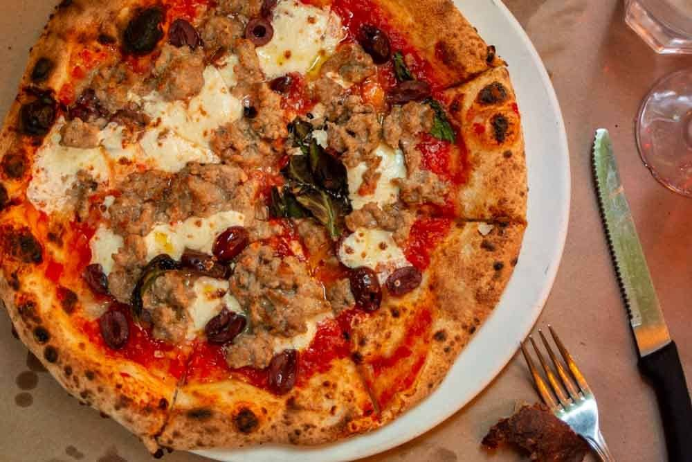 Salsiccia Pizza at Saraghina Restaurant in Brooklyn
