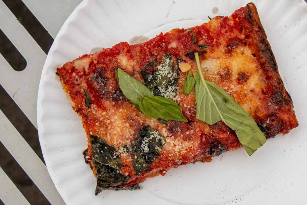 Square Slice at Di Fara Pizza in Brooklyn