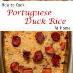 Pinterest image: Arroz de Pato image with caption reading 'How to Cook Portuguese Duck Rice at Home'
