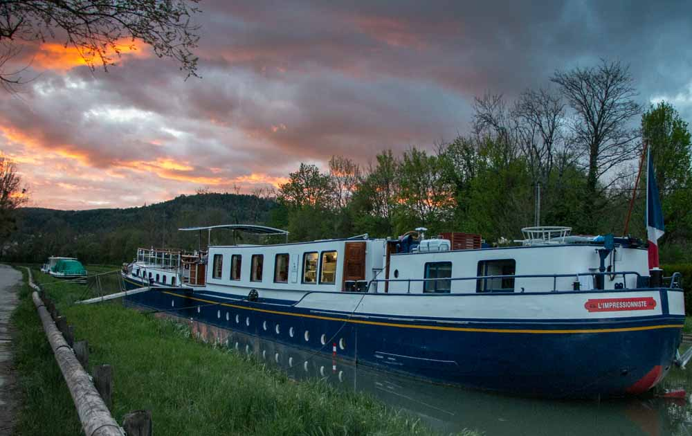 European Waterways Barge at Dusk in Burgundy France