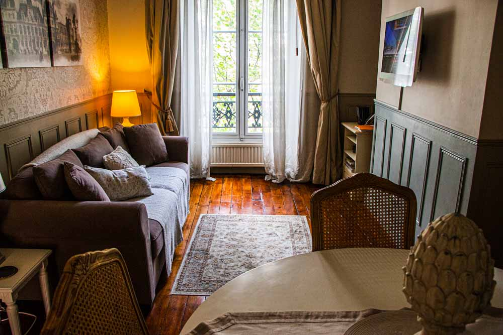 Living Room in Cobblestone Paris Apartment Hotel
