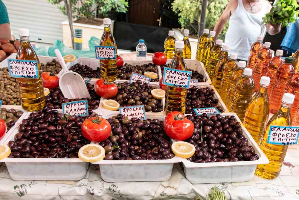 What To Eat in Greece - Olives at Market