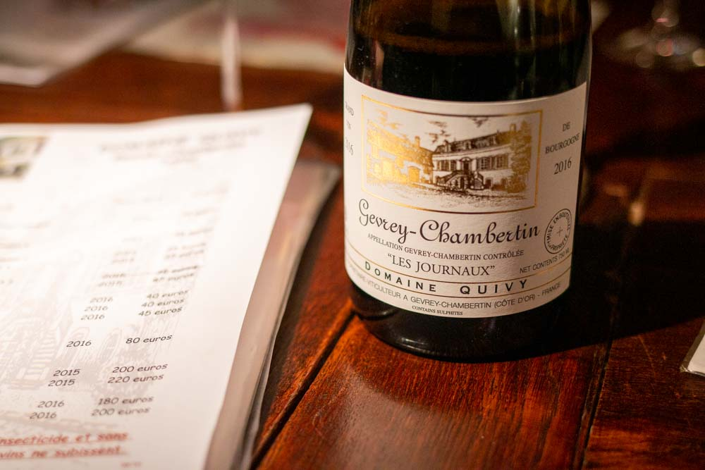 Wine at Domaine Quivy in Gevery-Chamberlin in Burgundy France