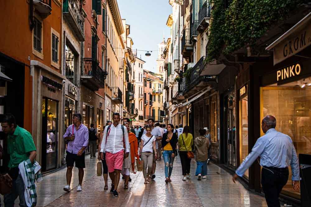 Busy Pedestrian Street in Verona Italy