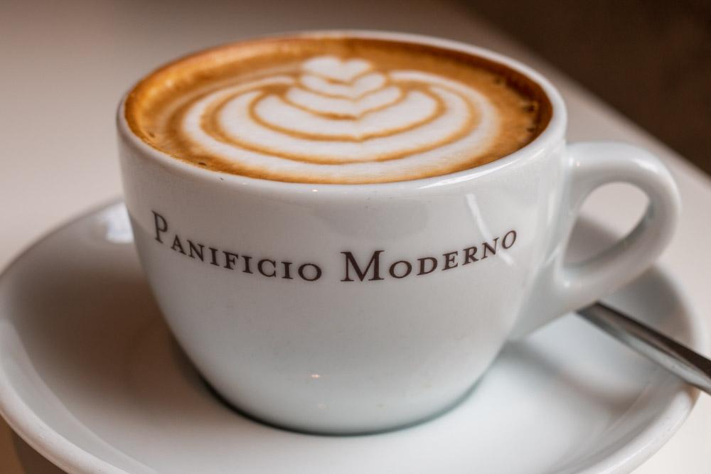Cappuccino at Panificio Moderno in Trento Italy