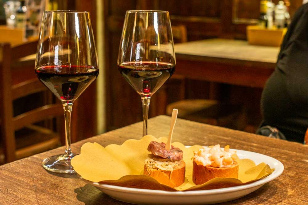 Cichetti and Wine at Caffe Monte Baldo in Verona Italy
