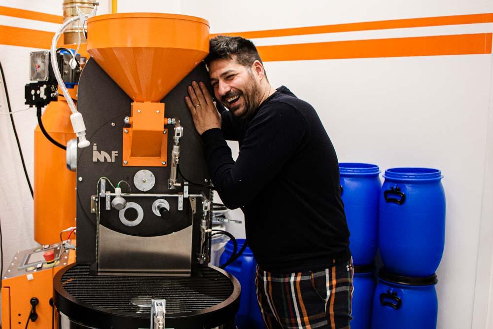 Davide Cobelli at Garage Coffee Bros. Roastery in Verona Italy