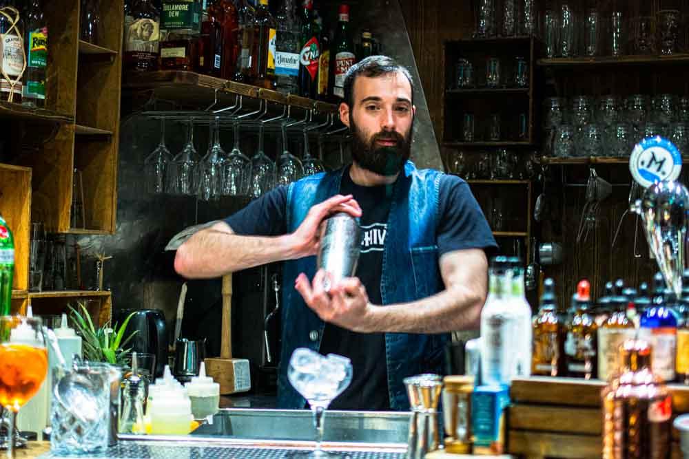 Jacobo Bellomi Tends Bar at Archivio in Verona Italy
