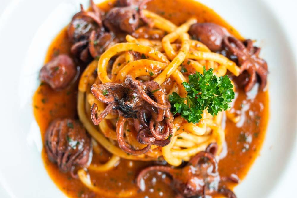 Pasta with Baby Octopus at Pescheria I Masenini in Verona Italy