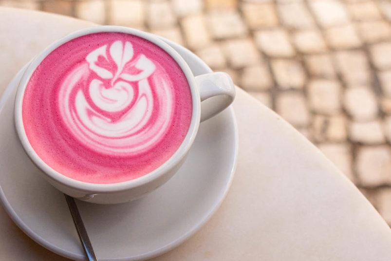 Pink Latte at Dear Breakfast in Lisbon