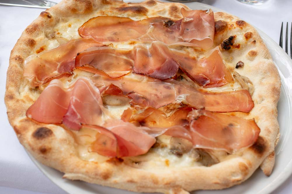 Speck Pizza at Green Tower in Trento Italy