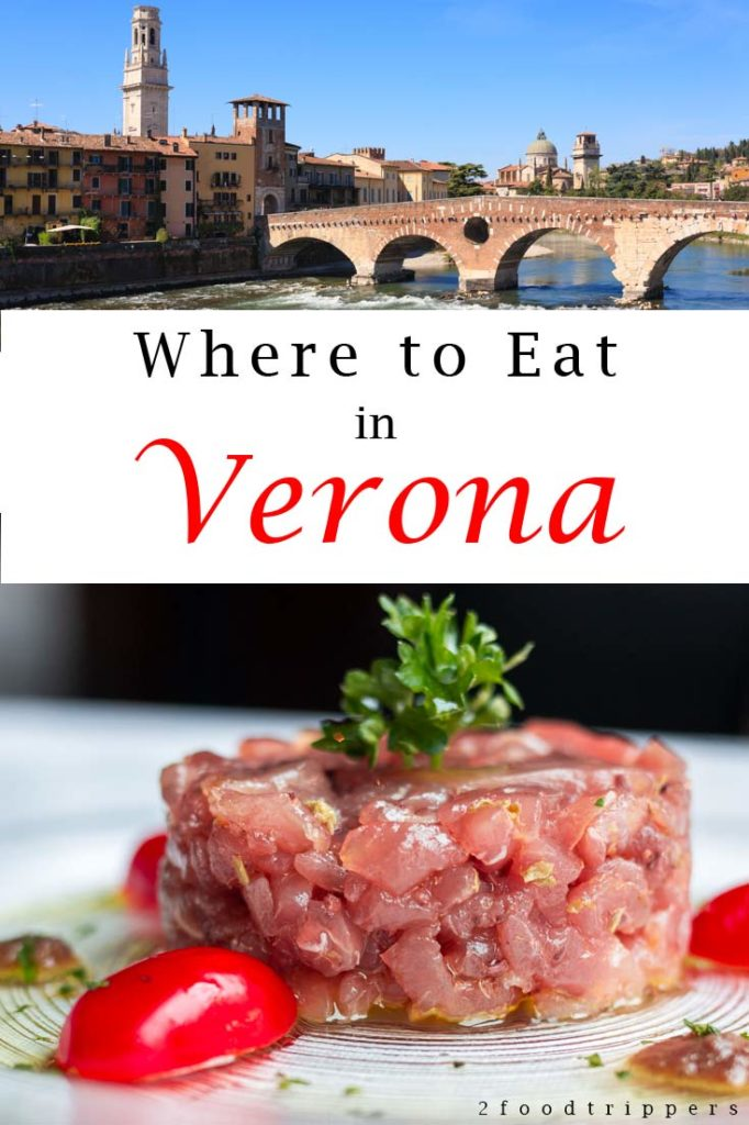 Pinterest image: two images of Verona with caption reading 'Where to Eat in Verona'