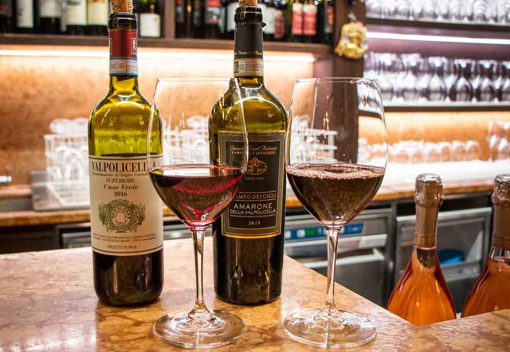 Wine at Antica Bottega del Vini in Verona Italy