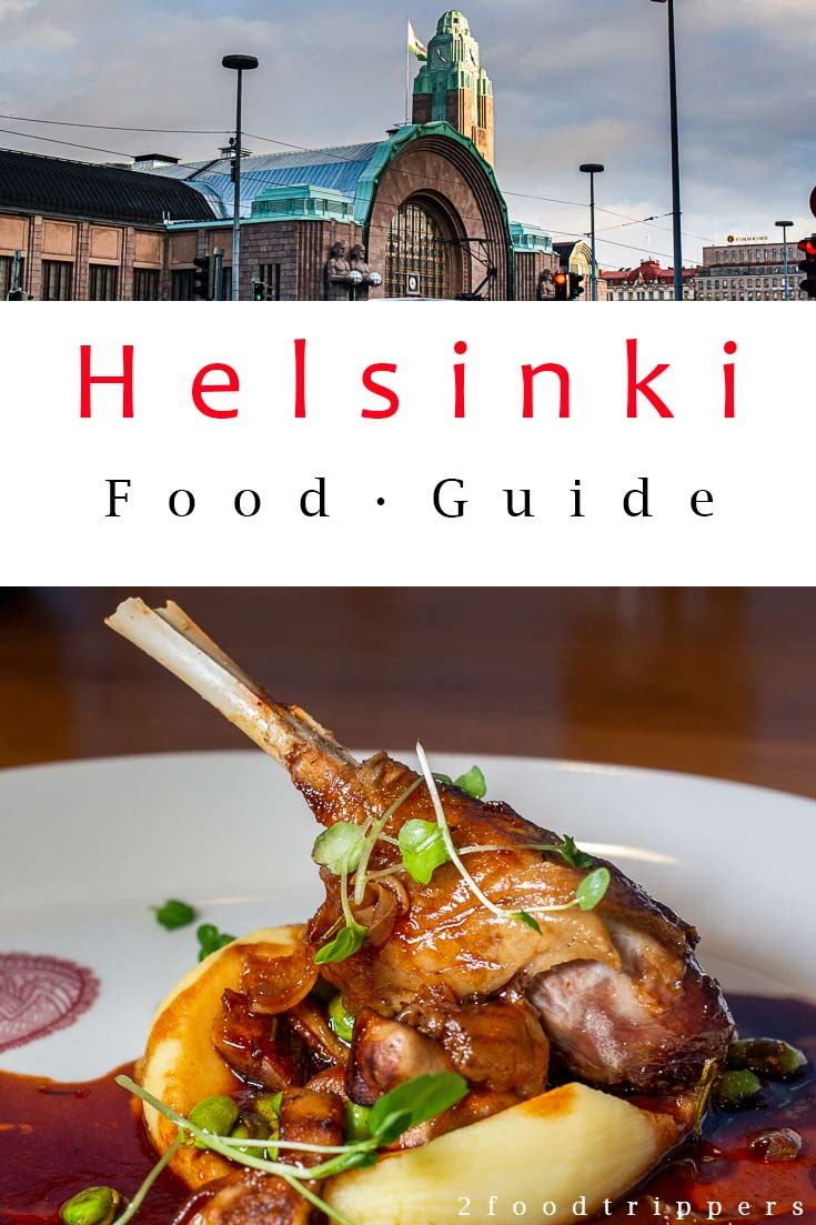 Pinterest image: two images of Helsinki with caption reading 'Helsinki Food Guide'