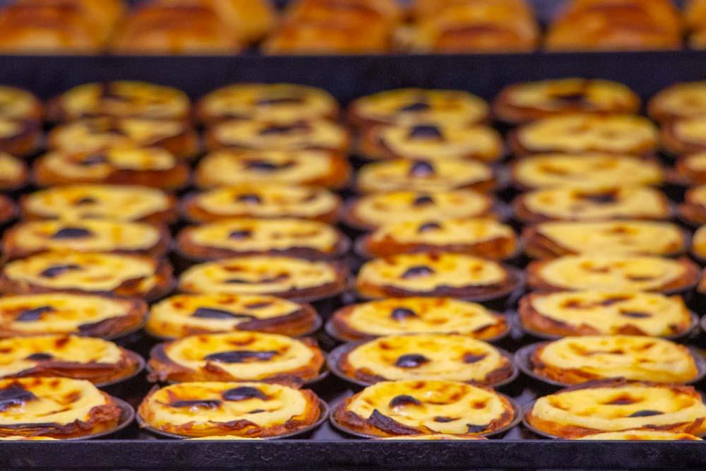 Rows of Pasteis de Nata at Pasteis de Belem in Lisbon