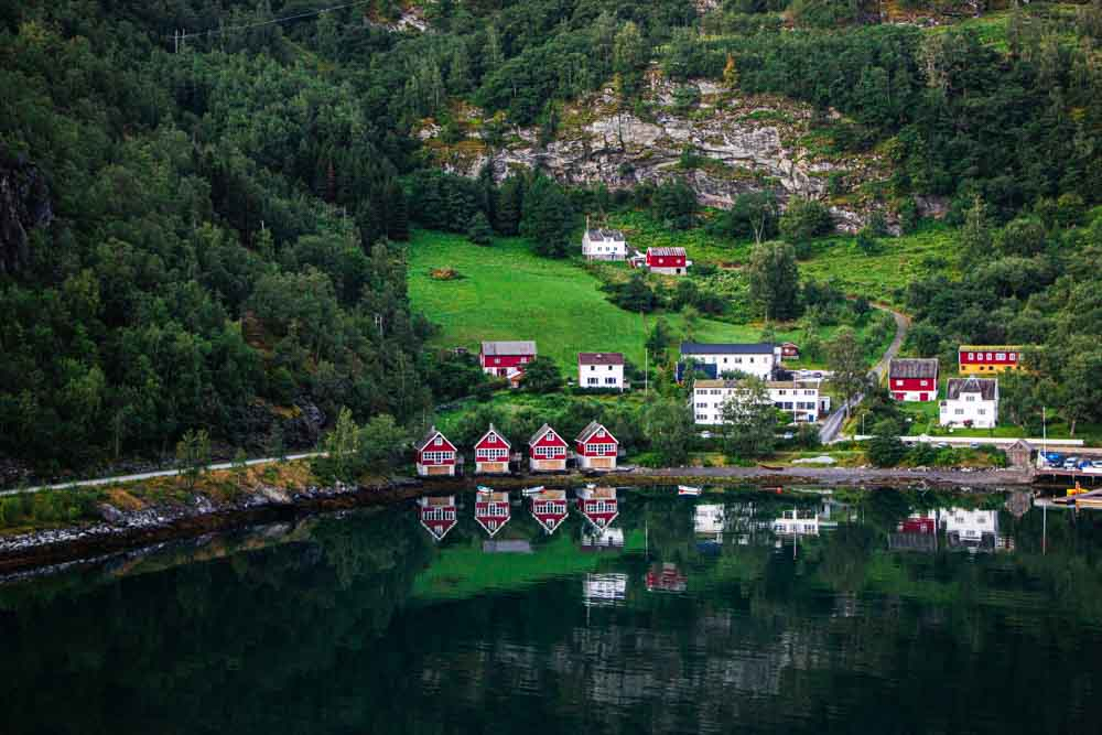 Flam Port and Houses in Norway