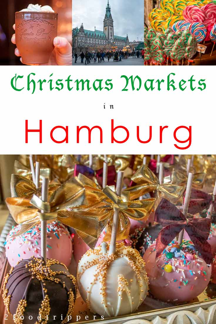Pinterest image: two images of Hamburg Christmas Markets with caption 'Christmas Markets in Hamburg'